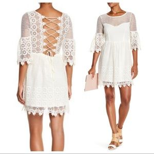 Flying Tomato Lace Up Backless Crochet Dress NEW